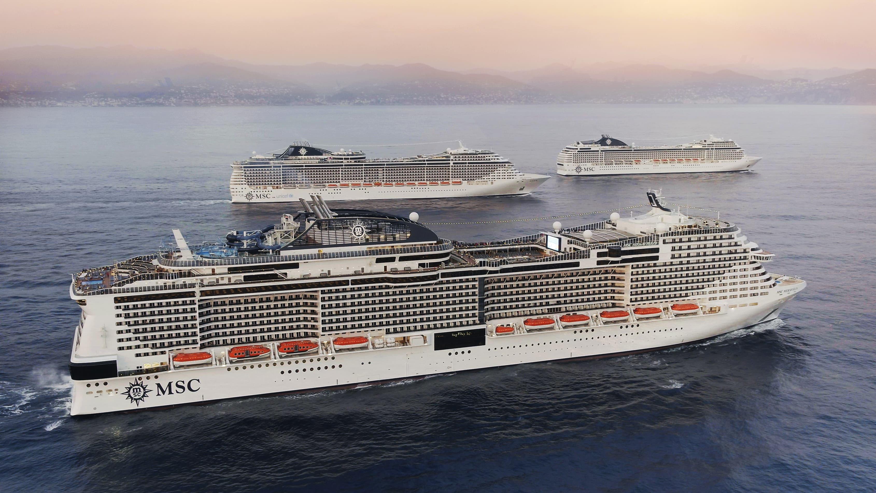 3 navi msc in navigazione a portofino