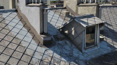Ispezione di un tetto di un palazzo con il drone